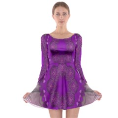 Fantasy Flowers In Harmony  In Lilac Long Sleeve Skater Dress