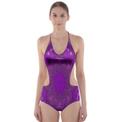 Fantasy Flowers In Harmony  In Lilac Cut Out One Piece Swimsuit