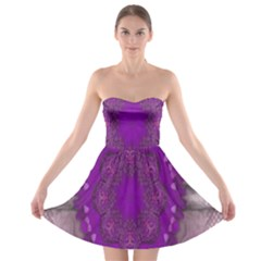 Fantasy Flowers In Harmony  In Lilac Strapless Bra Top Dress