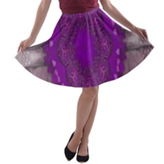 Fantasy Flowers In Harmony  In Lilac A Line Skater Skirt