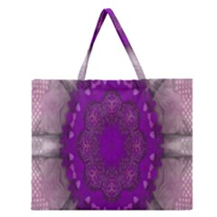 Fantasy Flowers In Harmony  In Lilac Zipper Large Tote Bag