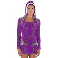 Fantasy Flowers In Harmony  In Lilac Long Sleeve Hooded T Shirt