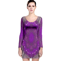 Fantasy Flowers In Harmony  In Lilac Long Sleeve Velvet Bodycon Dress
