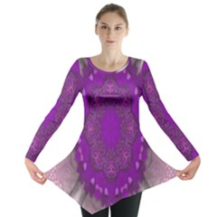 Fantasy Flowers In Harmony  In Lilac Long Sleeve Tunic