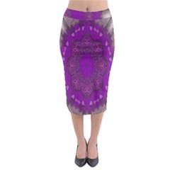 Fantasy Flowers In Harmony  In Lilac Midi Pencil Skirt