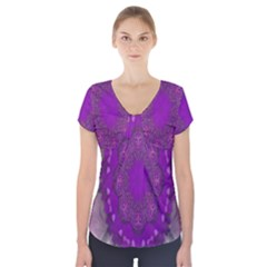 Fantasy Flowers In Harmony  In Lilac Short Sleeve Front Detail Top
