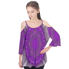 Fantasy Flowers In Harmony  In Lilac Flutter Tees