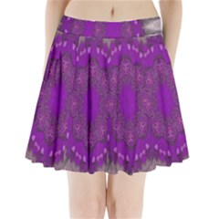 Fantasy Flowers In Harmony  In Lilac Pleated Mini Skirt