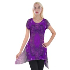 Fantasy Flowers In Harmony  In Lilac Short Sleeve Side Drop Tunic
