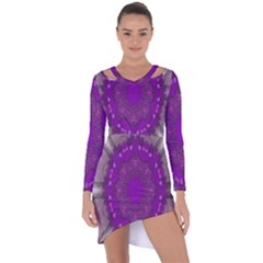 Fantasy Flowers In Harmony  In Lilac Asymmetric Cut Out Shift Dress