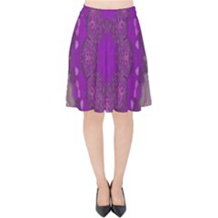 Fantasy Flowers In Harmony  In Lilac Velvet High Waist Skirt