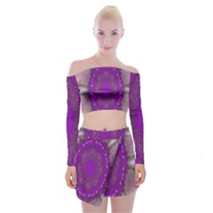 Fantasy Flowers In Harmony  In Lilac Off Shoulder Top With Skirt Set