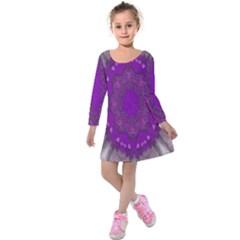 Fantasy Flowers In Harmony  In Lilac Kids  Long Sleeve Velvet Dress