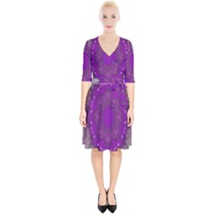Fantasy Flowers In Harmony  In Lilac Wrap Up Cocktail Dress