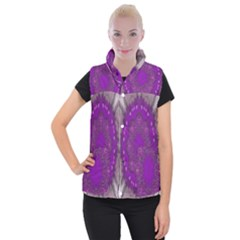 Fantasy Flowers In Harmony  In Lilac Women s Button Up Puffer Vest
