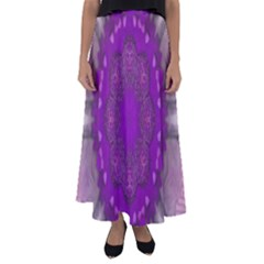 Fantasy Flowers In Harmony  In Lilac Flared Maxi Skirt
