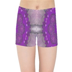 Fantasy Flowers In Harmony  In Lilac Kids Sports Shorts