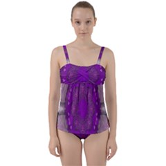 Fantasy Flowers In Harmony  In Lilac Twist Front Tankini Set