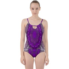 Fantasy Flowers In Harmony  In Lilac Cut Out Top Tankini Set
