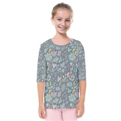 Cactus Pattern Green  Kids  Quarter Sleeve Raglan Tee