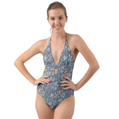 Cactus Pattern Green  Halter Cut Out One Piece Swimsuit