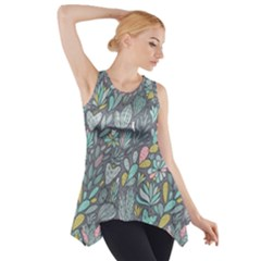 Cactus Pattern Green  Side Drop Tank Tunic