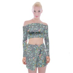Cactus Pattern Green  Off Shoulder Top With Mini Skirt Set