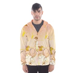 Wonderful Floral Design In Soft Colors Hooded Wind Breaker (men)