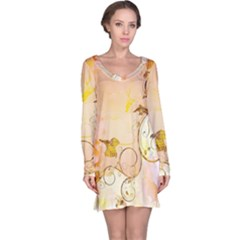 Wonderful Floral Design In Soft Colors Long Sleeve Nightdress