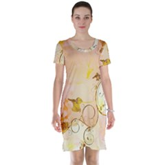 Wonderful Floral Design In Soft Colors Short Sleeve Nightdress