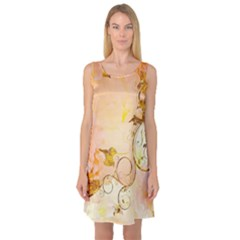Wonderful Floral Design In Soft Colors Sleeveless Satin Nightdress