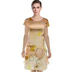 Wonderful Floral Design In Soft Colors Cap Sleeve Nightdress