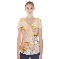 Wonderful Floral Design In Soft Colors Short Sleeve Front Detail Top