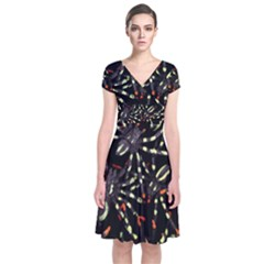 Tarantulas Short Sleeve Front Wrap Dress