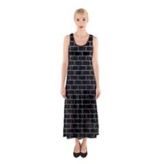 Brick1 Black Marble & Gray Sleeveless Maxi Dress