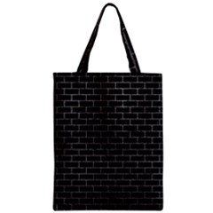 Brick1 Black Marble & Gray Zipper Classic Tote Bag