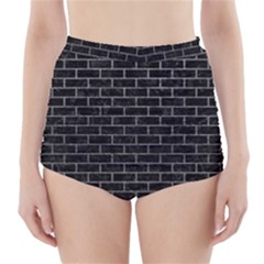 Brick1 Black Marble & Gray High Waisted Bikini Bottoms