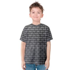 Brick1 Black Marble & Gray Leather (r) Kids  Cotton Tee