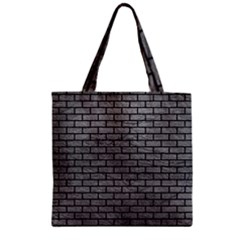Brick1 Black Marble & Gray Leather (r) Zipper Grocery Tote Bag