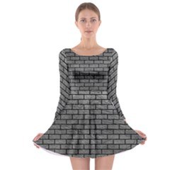 Brick1 Black Marble & Gray Leather (r) Long Sleeve Skater Dress