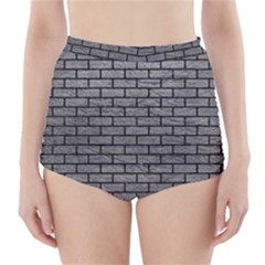 Brick1 Black Marble & Gray Leather (r) High Waisted Bikini Bottoms
