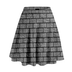 Brick1 Black Marble & Gray Leather (r) High Waist Skirt