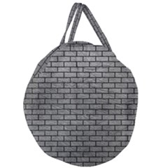 Brick1 Black Marble & Gray Leather (r) Giant Round Zipper Tote