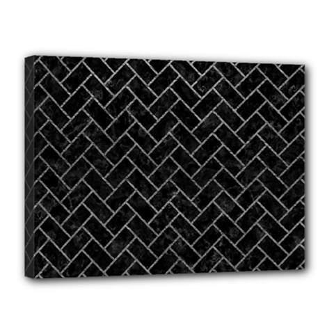 Brick2 Black Marble & Gray Leather Canvas 16  X 12