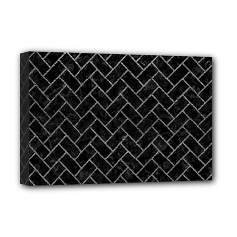 Brick2 Black Marble & Gray Leather Deluxe Canvas 18  X 12