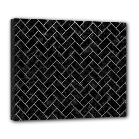 Brick2 Black Marble & Gray Leather Deluxe Canvas 24  X 20