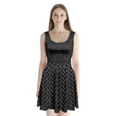 Brick2 Black Marble & Gray Leather Split Back Mini Dress