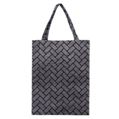 Brick2 Black Marble & Gray Leather (r) Classic Tote Bag