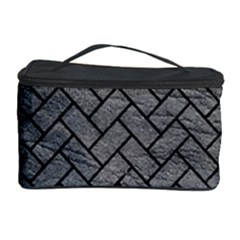Brick2 Black Marble & Gray Leather (r) Cosmetic Storage Case