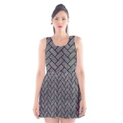 Brick2 Black Marble & Gray Leather (r) Scoop Neck Skater Dress